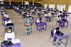 An exit class of Government Senior Secondary School Wuse Zone 3, during their resumption in Abuja on Tuesday Source: Jones Bamidele/NAN