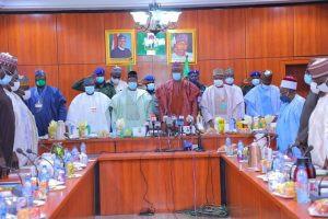 Governors of Adamawa, Bauchi, Borno, Gombe, Taraba and Yobe States during the meeting of North East Governors Forum