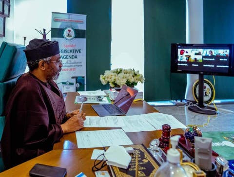 Gbajabiamila at virtual meeting with other parliament speakers, push for debt cancellation for Africa