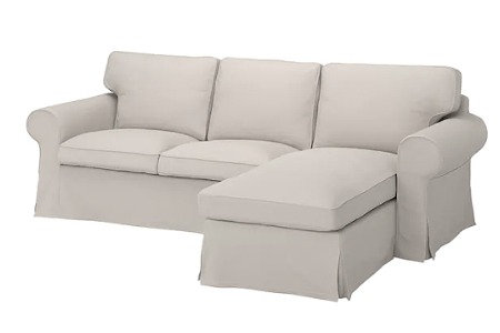 Slipcover for Ektorp 3 seat sofa with Chaise Lounge: Suede