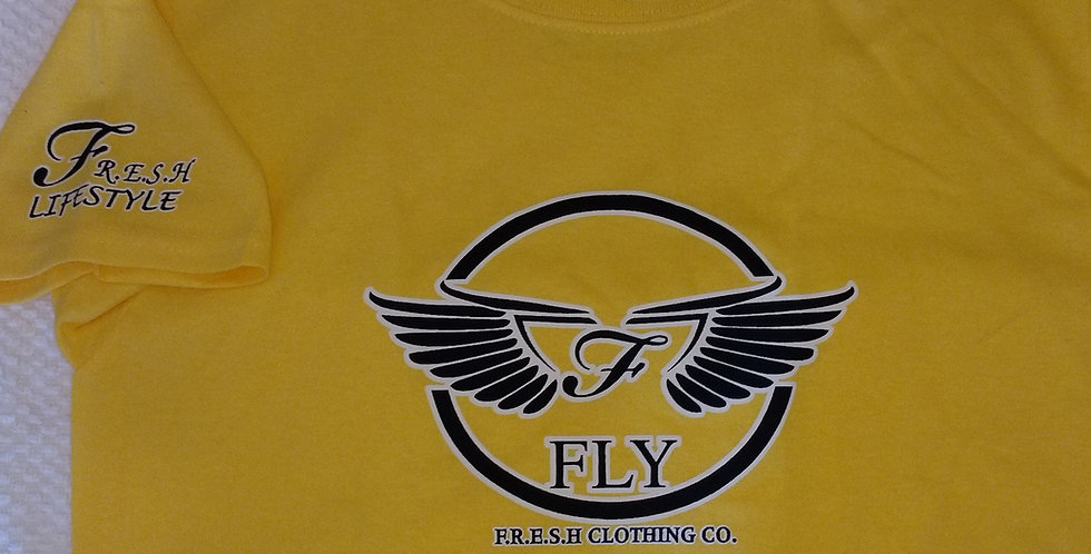 """WINGZ ON"" - FLY - F.R.E.S.H. KYDZ TEE (YELLOW/BLACK)"