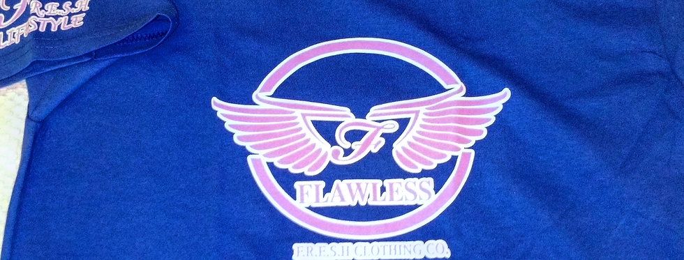 "'WINGZ ON"" - FLAWLESS - F.R.E.S.H. KYDZ TEE (ROYAL BLUE & PINK)"
