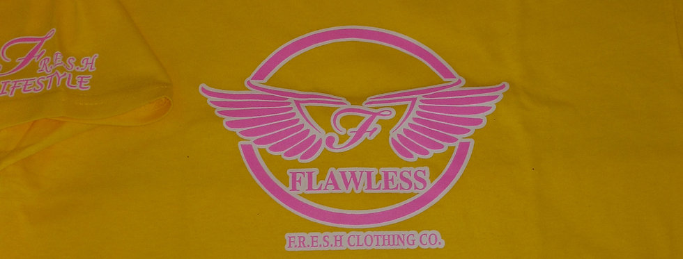 """WINGZ ON"" - FLAWLESS - F.R.E.S.H. KYDZ TEE (YELLOW/PINK)"