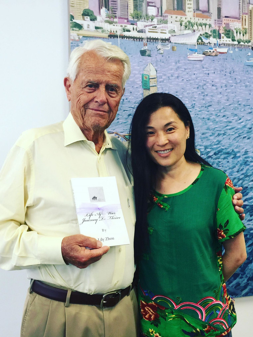 """KSO Founding Chairman Malin Burnham with Lily's book """"Life after War: Journey to Thrive"""""""