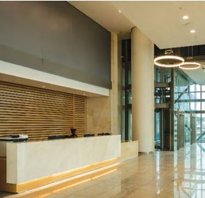Reception desk and feature wall