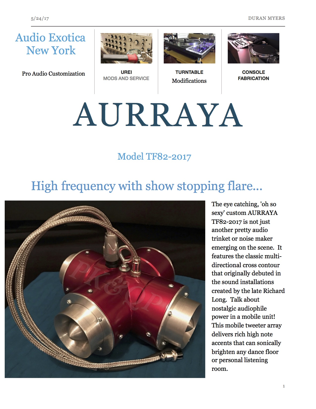 AURRAYA Model TF82-2017