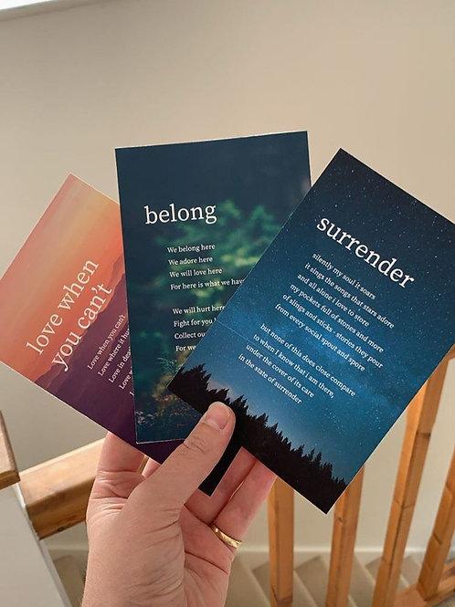 A Pack of 3 Short Poem Postcards by Dave Erasmus (1🌲)