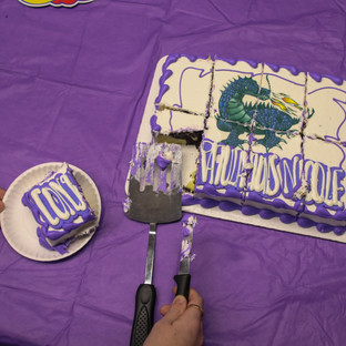 Taking a piece of cake.