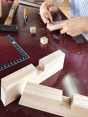 木工教室で相欠き継ぎ