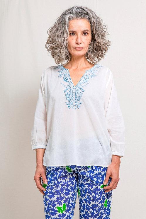 cora top white/blue