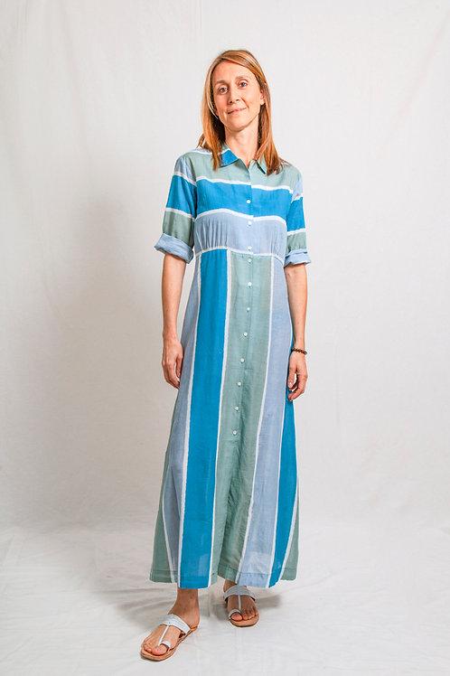khan dress stripes blue
