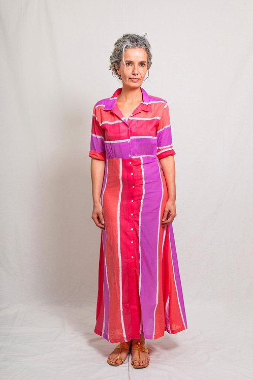 khan dress stripes pink