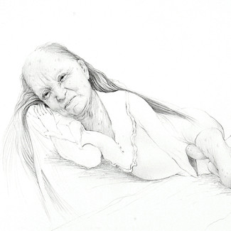 OLD WOMAN TICKLING HERSELF