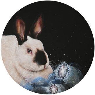 BUNNY WITH BLUE BUBBLES DIAMOND BLING