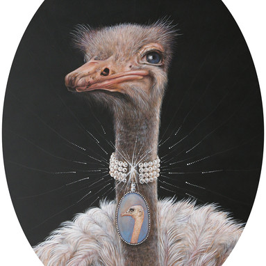 AUDREY THE OSTRICH WITH PEARLS OF BLING