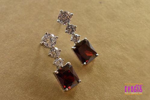 Sparkling Princess Cut Earring in Rodo Onyx Stone