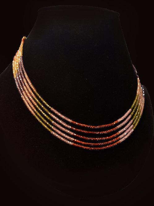 Multi Colored Indo Western Necklace in CZ Semi Precious Beads