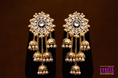 Gorgeous Kundan Floral Stud with Multiple Jhumkas