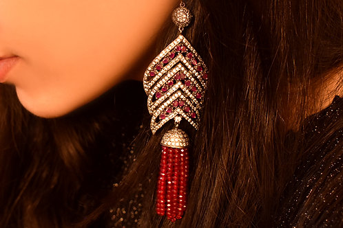 Graceful Indo Western Antique CZ  Danglers in White and Red stones