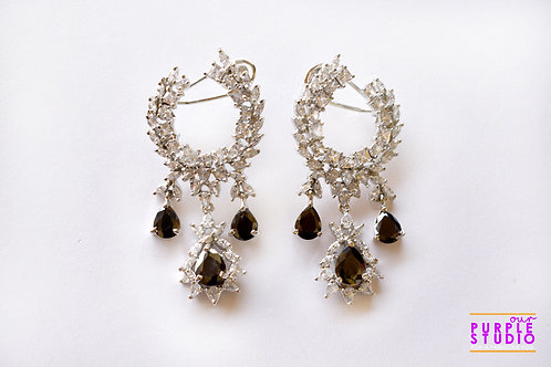 Fashion Delight Party Earring in White and Black CZ Stone