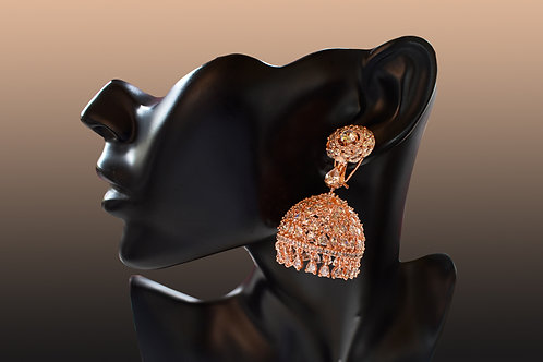 Mesmerizing Rose Gold CZ Jhumkas