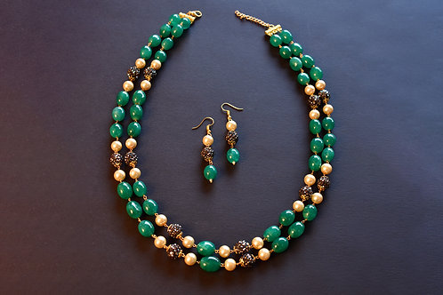 Contemporary Beaded Necklace in Green and off White Semi Precious Beads