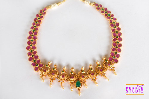 Rich Golden Pendant Set with Green and Pink Beads