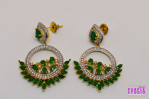 Elegant Green Party Wear Chand Bali in CZ