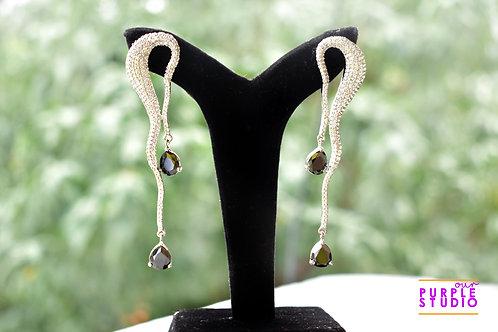 Trendy Earring in Silver AD Setting