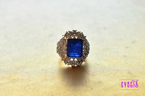 Sparkling Blue Onyx and AD Cocktail Ring