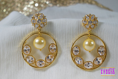 Golden Chandbali with Pearl Drop