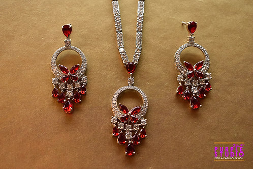 Sophisticated CZ Necklace Set with Red Stones