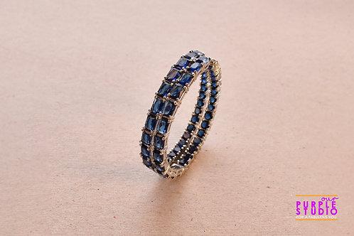 Angelic Blue CZ Stone Hoops for Happy Wear