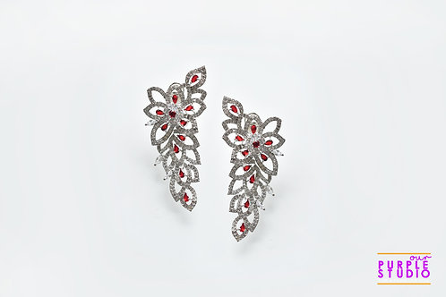 Smart Indo Western Danglers in white and red AD stones