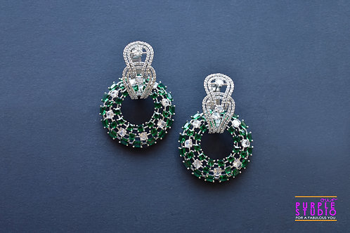 Gorgeous Dual Party Wear Earrings with Green and White AD stones