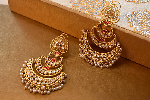Gorgeous Sleek Golden  Kundan Chandbali with a touch of Red