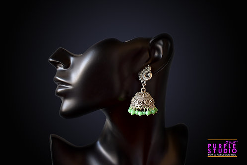 Green Color Silver tone Jhumka