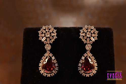 Sparkling Princess Cut Diamond Earring with Red Onyx Stone