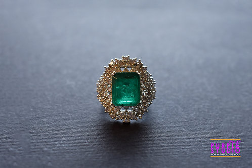 Sparkling Green Onyx and AD Cocktail Ring