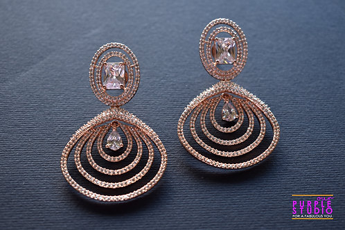 Sleek Danglers in Rose Gold adorned with AD Stones