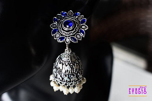Classic Silver Tone Jhumka with Blue Stones