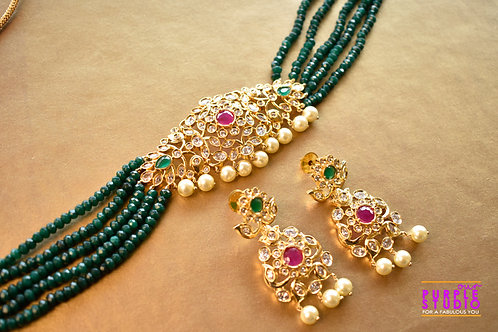 Stunning AD Choker Set in Green Beads
