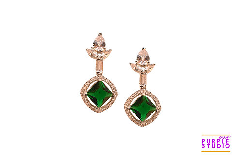 Ascetic Green AD Earring in Silver Polish