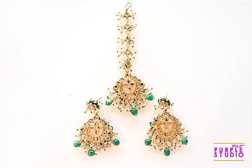 Bridal Earrings and Maang Tikka Set