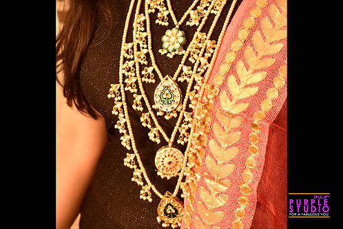 Royal Multi Layered Long Necklace set with White Beads and Kundan stones