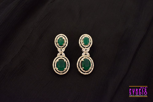 Double Green Star Studded Earrings