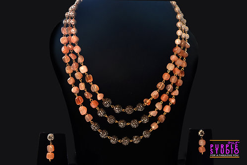 Contemporary  Multi Colored Color Beaded  Necklace Set
