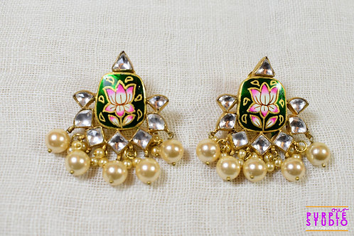 Painted Lotus with Kundan