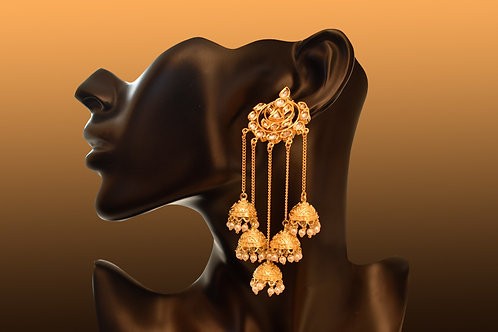 Golden Pearl and Kundan Danglers with Mutiple Jhumkas