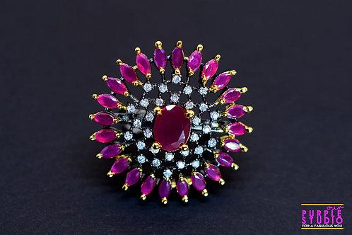 Sparkling Sun Finger Ring in Pink